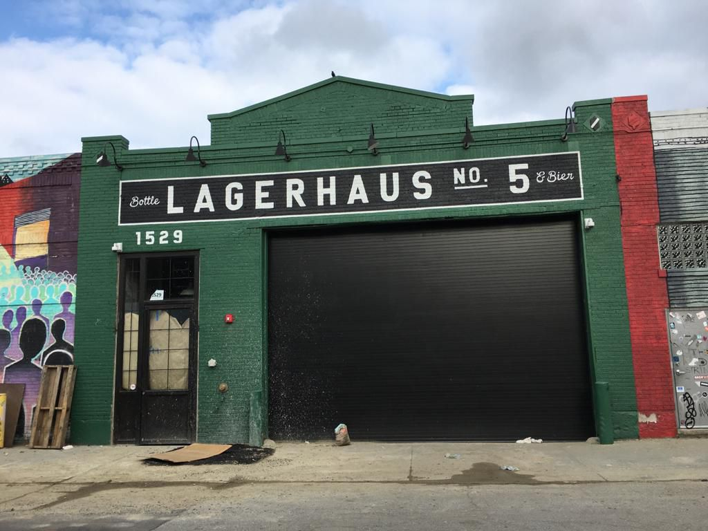 The green exterior and signage for Lagerhaus No. 5 in Eastern Market.