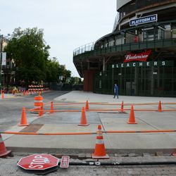 5:39 p.m. Sidewalk work almost done, at Waveland and Sheffield -