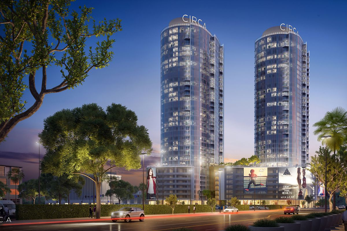 Rendering of towers lit up at night