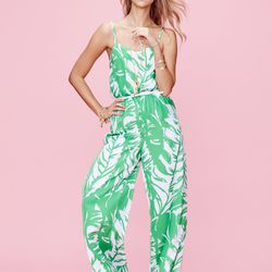 'Boom Boom' jumpsuit, $44; pineapple sandals in gold, $30