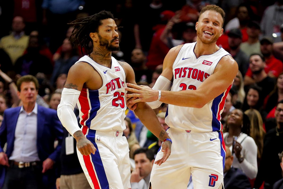Detroit Pistons guard Derrick Rose celebrates with forward Blake Griffin after hitting a game winning shot against the New Orleans Pelicans during the fourth quarter at the Smoothie King Center.