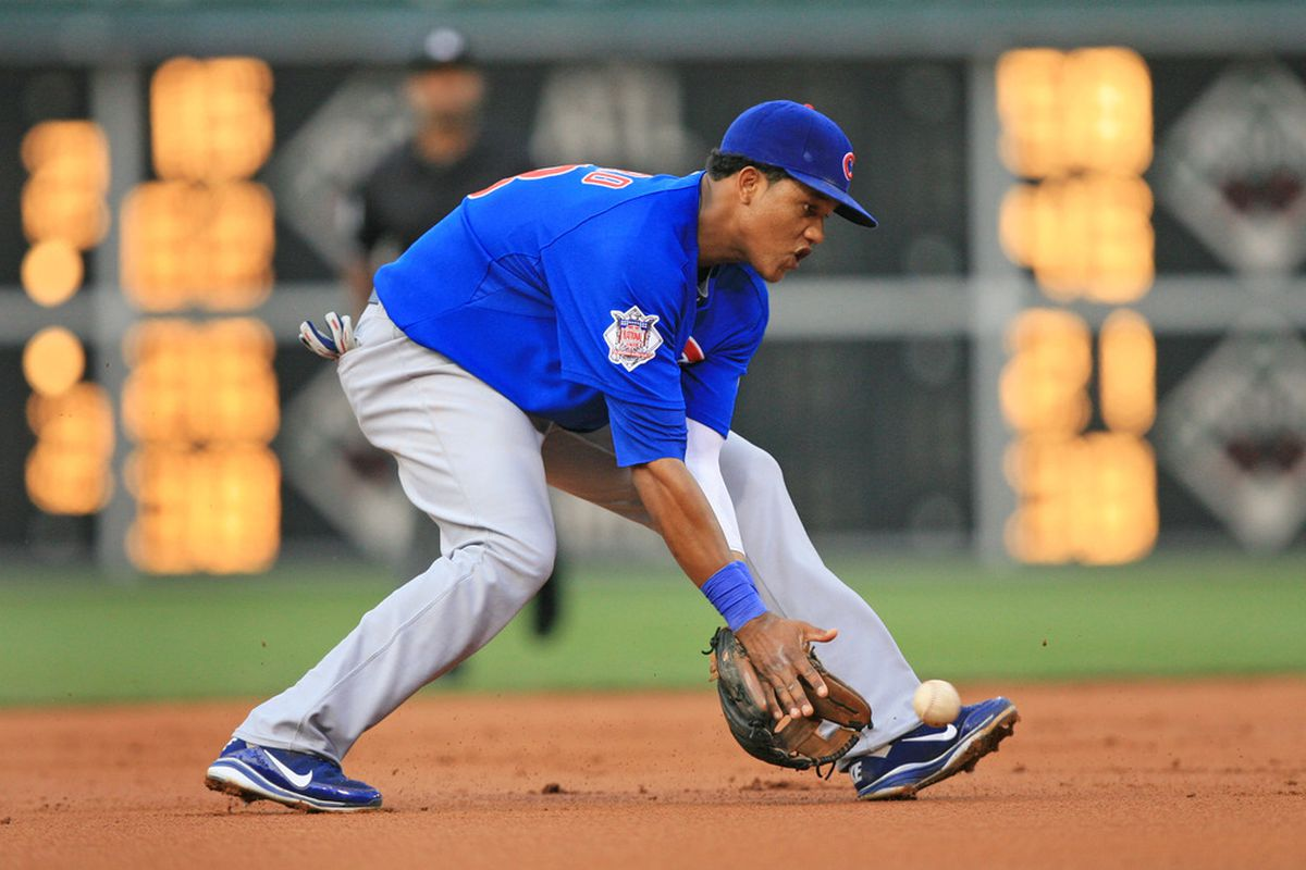 Shortstop Starlin Castro of the Chicago Cubs fields a ground ball during a game against the Philadelphia Phillies at Citizens Bank Park on June 10, 2011 in Philadelphia, Pennsylvania. The Phillies won 7-5. (Photo by Hunter Martin/Getty Images)
