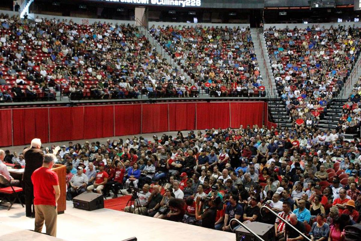 Culinary Union members vote to strike at the Thomas & Mack Center.