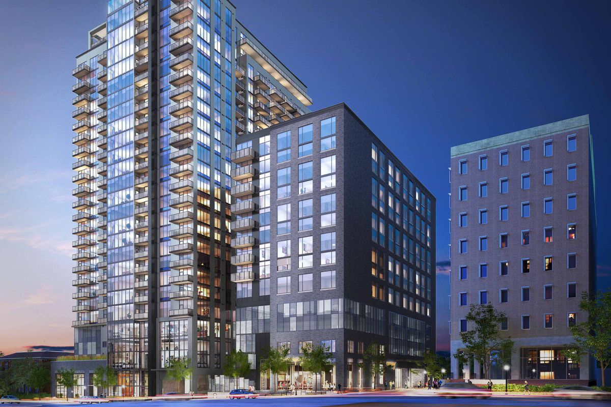 The latest rendering of Ascent Midtown in Atlanta, showing a glassy residential tower and lower, boxier hotel tower.