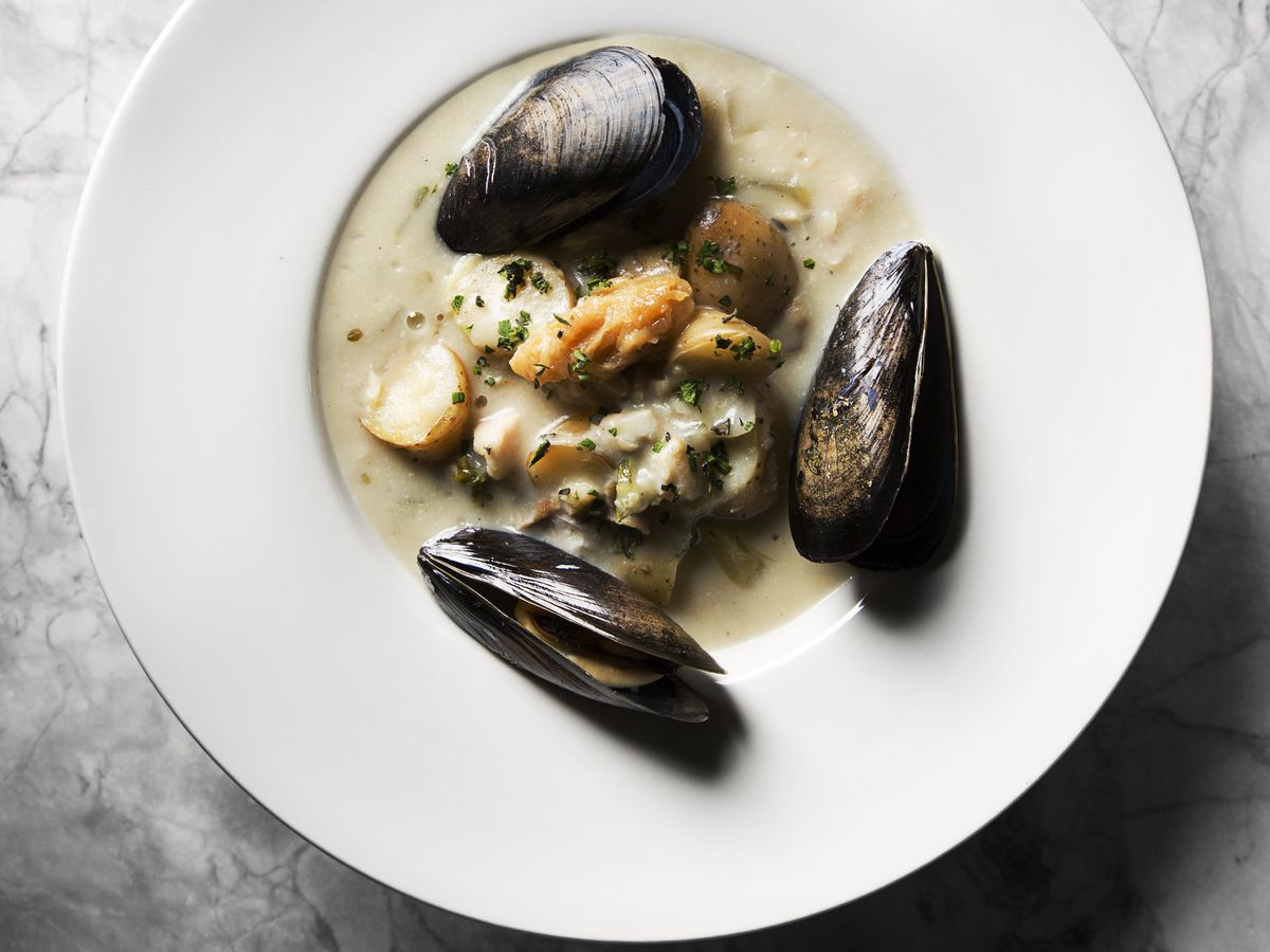 """""""Le Chowder"""" at Tankard and Tun is a rich mix of rockfish, mussels, and vegetables."""