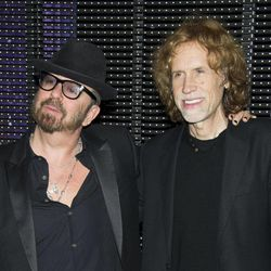 """In this March 15, 2012 photo, composers Dave Stewart and Glen Ballard pose for a photo backstage after the initial performance of the Broadway musical """"Ghost"""",  in New York. Ballard, a five-time Grammy Award-winning songwriter-producer who created """"Jagged Little Pill"""" with Alanis Morissette and wrote """"Man In the Mirror"""" for Michael Jackson, has teamed up with Dave Stewart, songwriter-producer of Eurythmics fame who has also written for Celine Dion and Shakira, to score the Broadway musical """"Ghost."""""""