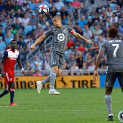 July 13, 2019 - Saint Paul, Minnesota, United States - Minnesota United midfielder Osvaldo Alonso (6) goes up to head the ball during the match against FC Dallas at Allianz Field.