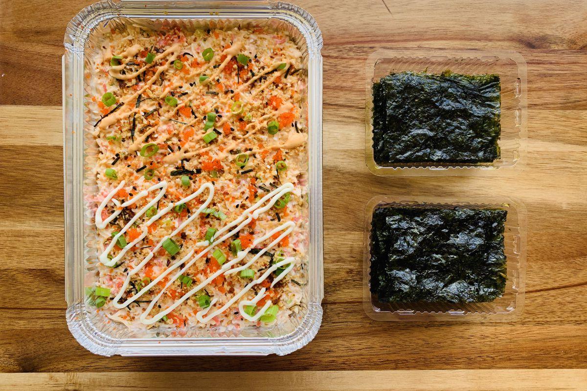 The half-and-half sushi bake tray from Baked Sushi ATX