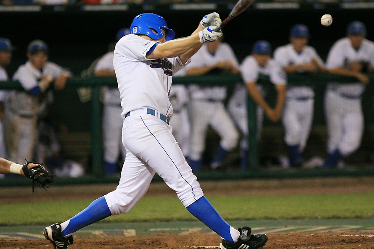 <em>Jeff Gelalich et al. will be looking for more timely hits against TCU this afternoon in Omaha. Photo Credit: Brad Williams (UCLA Athletics)</em>