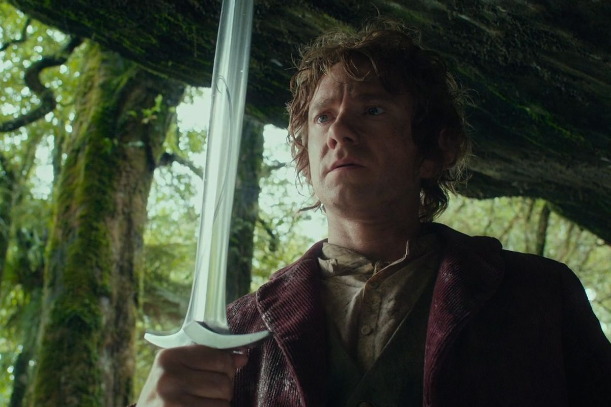 Martin Freeman as Bilbo holding Sting in The Hobbit: An Unexpected Journey.