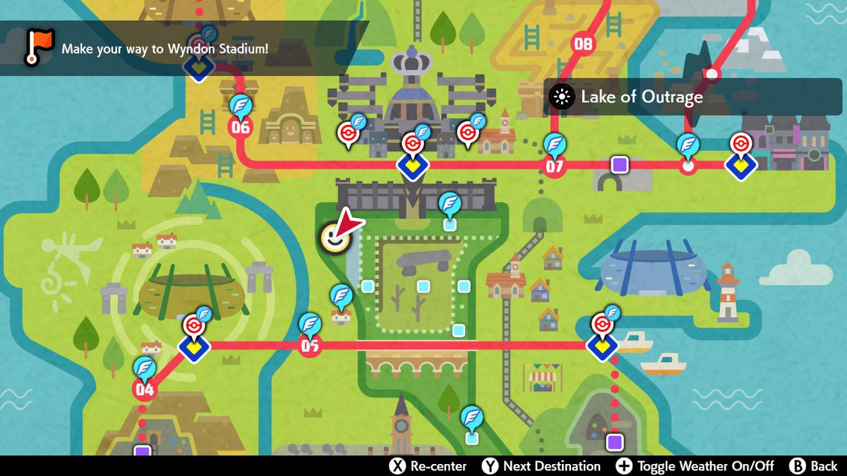 A map of the Lake of Outrage in Pokémon Sword and Shield