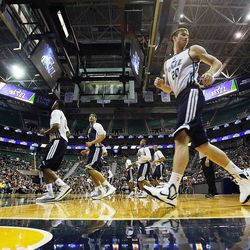 Gordon Hayward is at front as the Utah Jazz warms up to scrimmage in Salt Lake City, Saturday, Oct. 5, 2013.