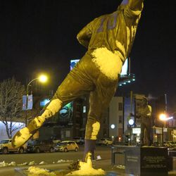 Ron Santo's statue, covered with snow