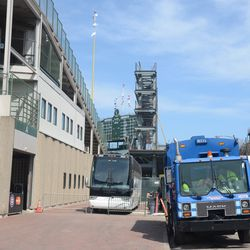 11:25 a.m. Visiting team bus already parked on Sheffield -