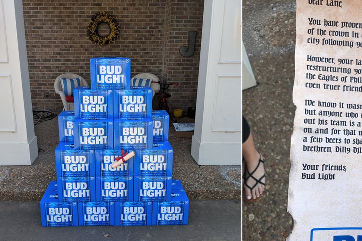 fc9fab6ceaf Eagles News  Lane Johnson receives free beer from Bud Light for  restructuring his contract