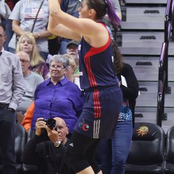 Washington Mystics' Stefanie Dolson (31) shoots from the baseline.