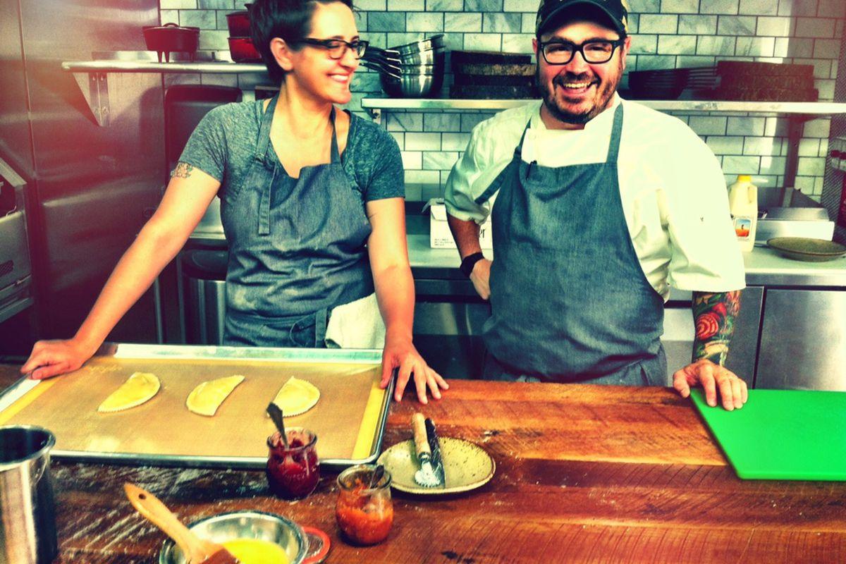 Lisa Donovan in the kitchen with Husk Nashville executive chef Sean Brock