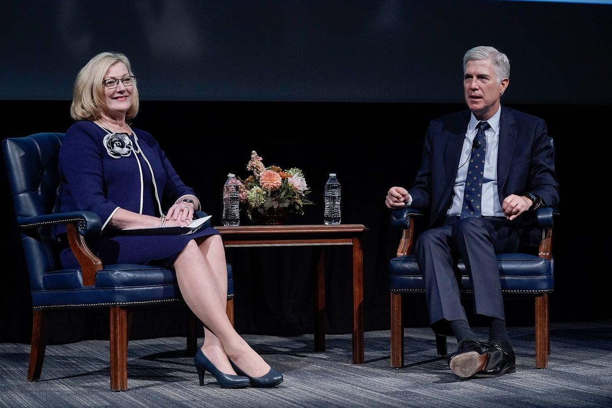 """Judge Carolyn B. McHugh, of the 10th U.S. Circuit Court of Appeals for the Tenth Circuit and Justice Neil Gorsuch of the United States Supreme Court speak with students at Brigham Young University during """"An Evening With Neil Gorsuch"""" hosted by the Hatch Center on Friday, Sept. 20, 2019."""