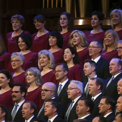 "The Tabernacle Choir at Temple Square performs during the ""Music and the Spoken Word"" broadcast prior to the Sunday morning session of the 189th Semiannual General Conference of The Church of Jesus Christ of Latter-day Saints in the Conference Center in Salt Lake City on Sunday, Oct. 6, 2019."