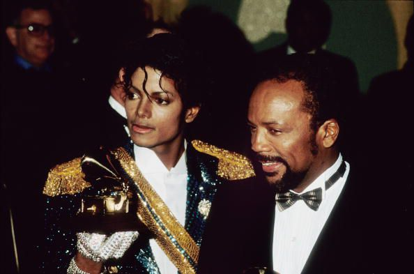 Michael Jackson and Quincy Jones at the 1984 Grammys.