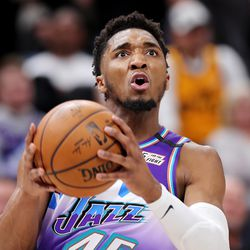 Utah Jazz guard Donovan Mitchell (45) eyes the basket as the Utah Jazz and the Boston Celtics play an NBA basketball game at Vivint Smart Home Arena in Salt Lake City on Wednesday, Feb. 26, 2020. Boston won 114-103.