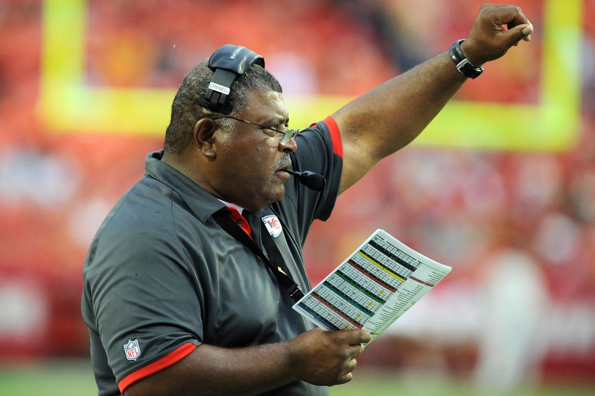 Aug 24, 2012; Kansas City, MO, USA; Kansas City Chiefs head coach Romeo Crennel on the sidelines against the Seattle Seahawks in the first half at Arrowhead Stadium. Seattle won the game 44-14. Mandatory Credit: John Rieger-US PRESSWIRE