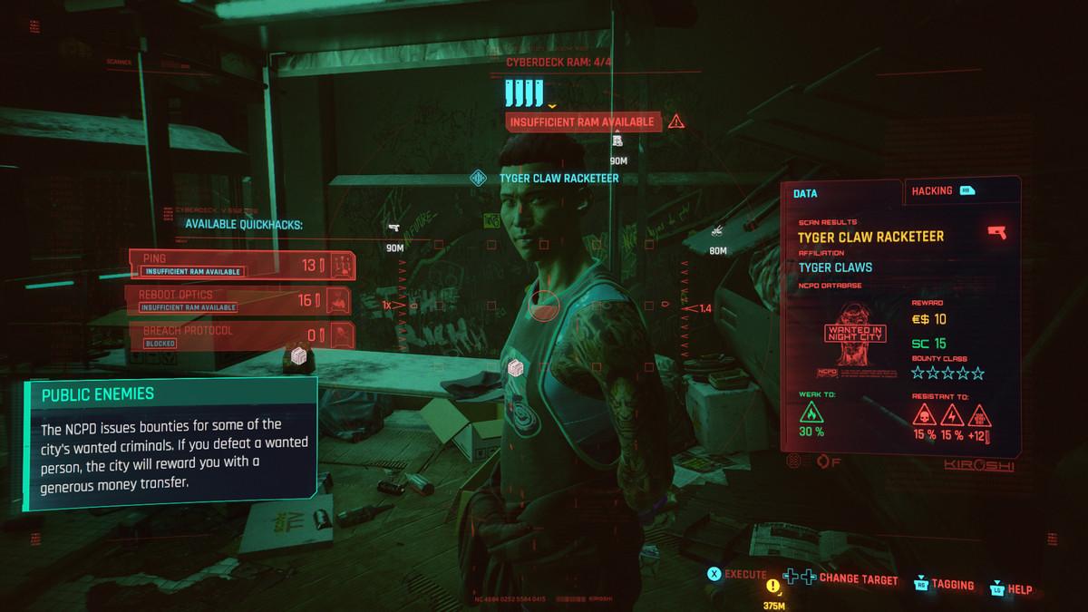 A screen in Cyberpunk 2077 displaying information about an NPC