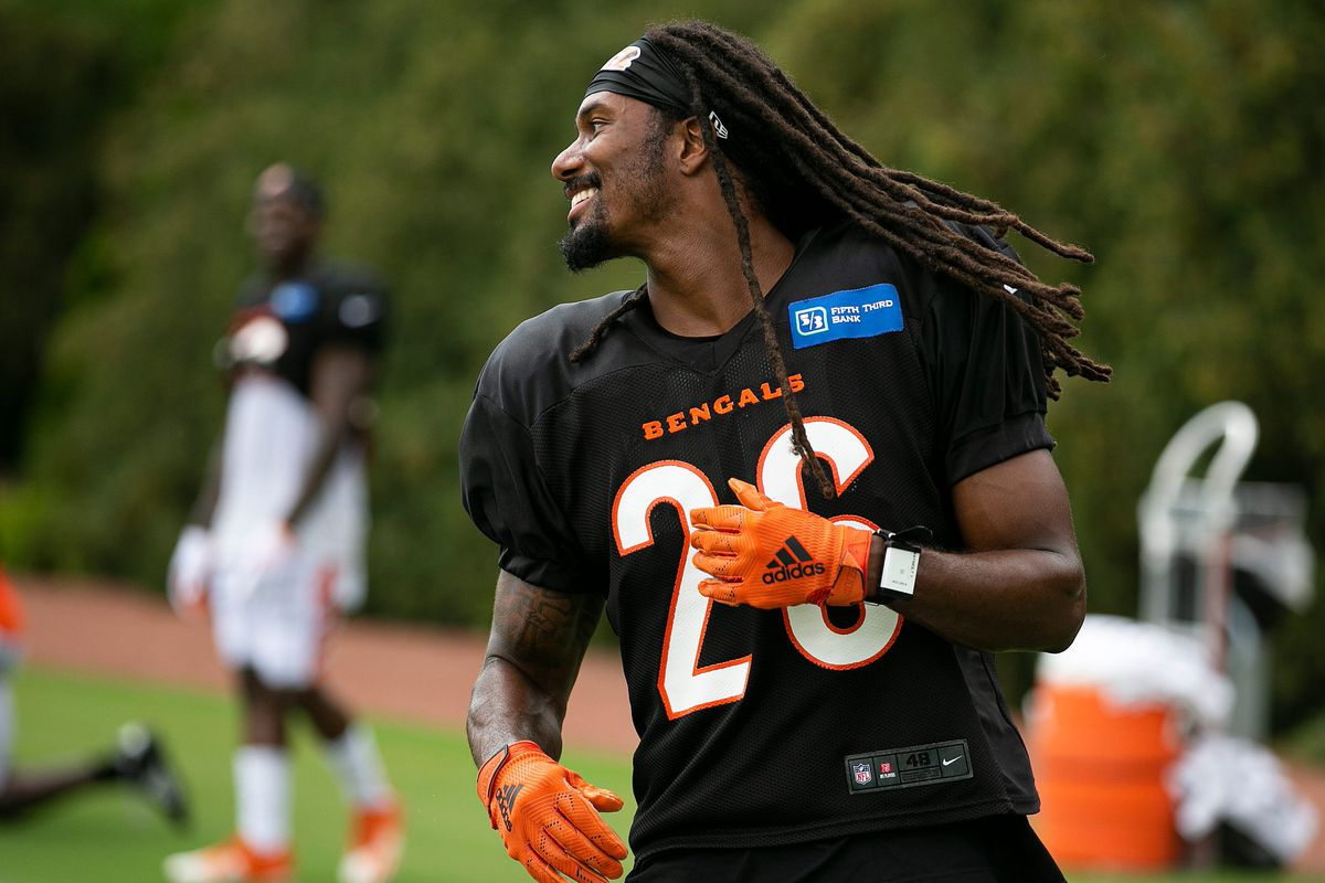 Cincinnati Bengals cornerback Trae Waynes (26) during training camp on the practice fields outside of Paul Brown Stadium in Downtown Tuesday, August 17, 2021.
