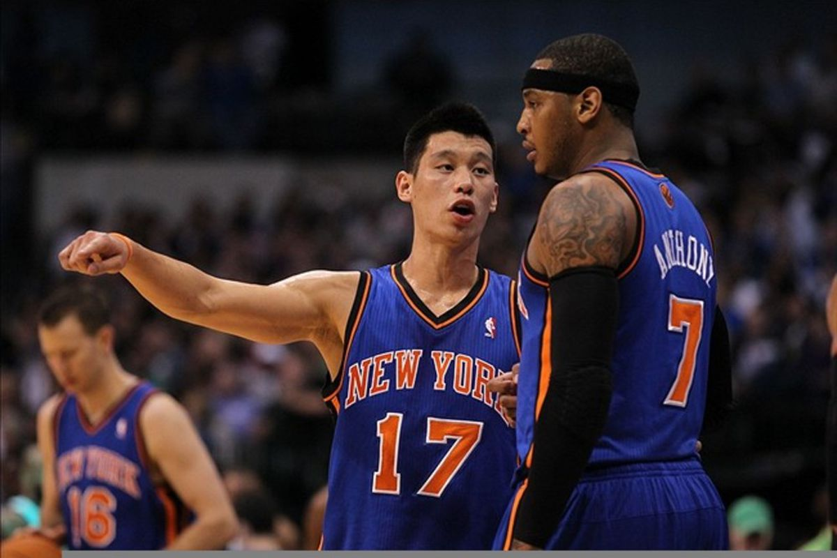 Mar 6, 2012; Dallas, TX, USA; New York Knicks guard Jeremy Lin (17) talks with forward Carmelo Anthony (7) in the first quarter against the Dallas Mavericks at American Airlines Center.  Mandatory Credit: Matthew Emmons-US PRESSWIRE