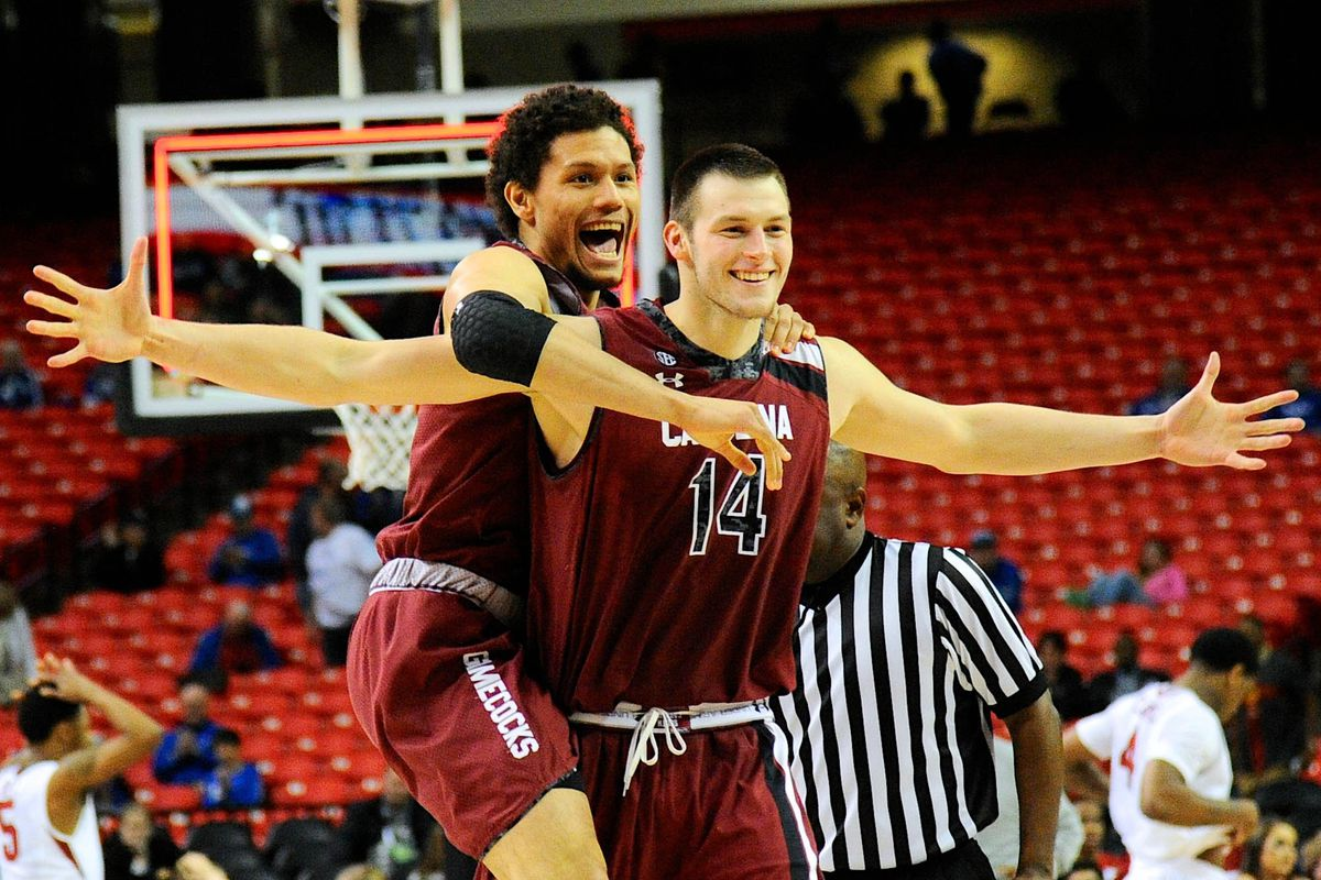 Laimonas Chatkevicius and Michael Carrera celebrate the Gamecocks' victory on Thursday.