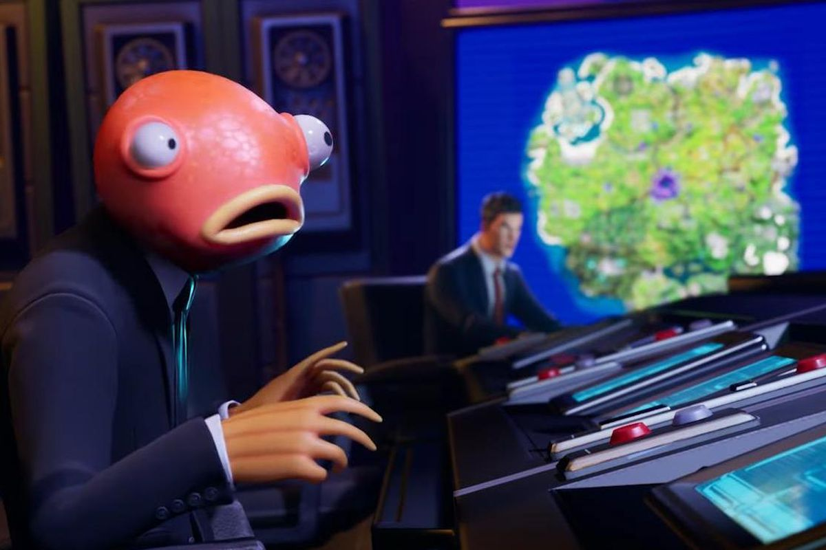 Fortnite - a fish headed man looks incredulous and worried over a computer terminal