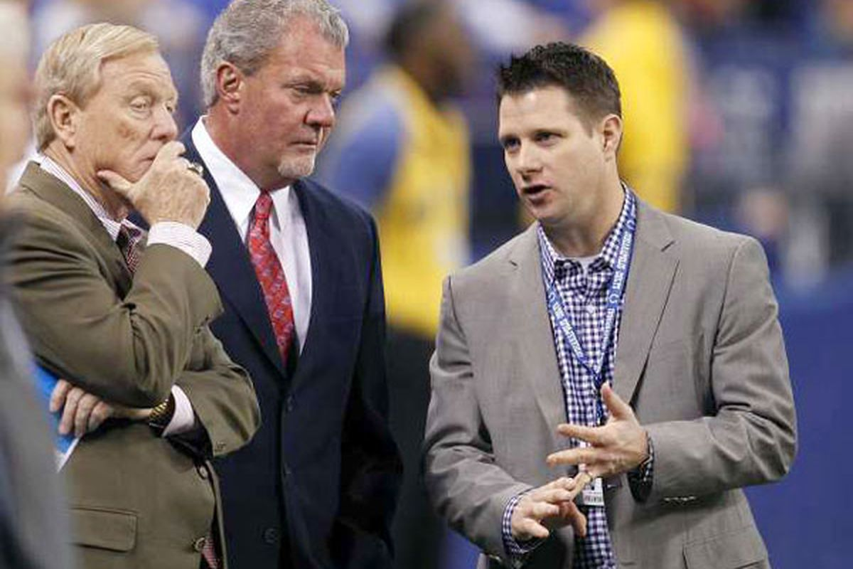 Chris Polian (right), pictured with Colts owner Jim Irsay (left) and his father and team president Bill (far left)