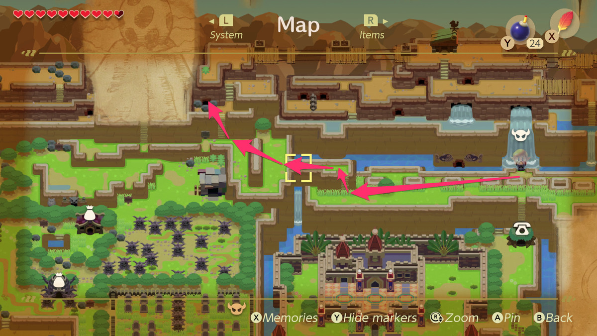 Link's Awakening path to caves in Tal Tal Heights