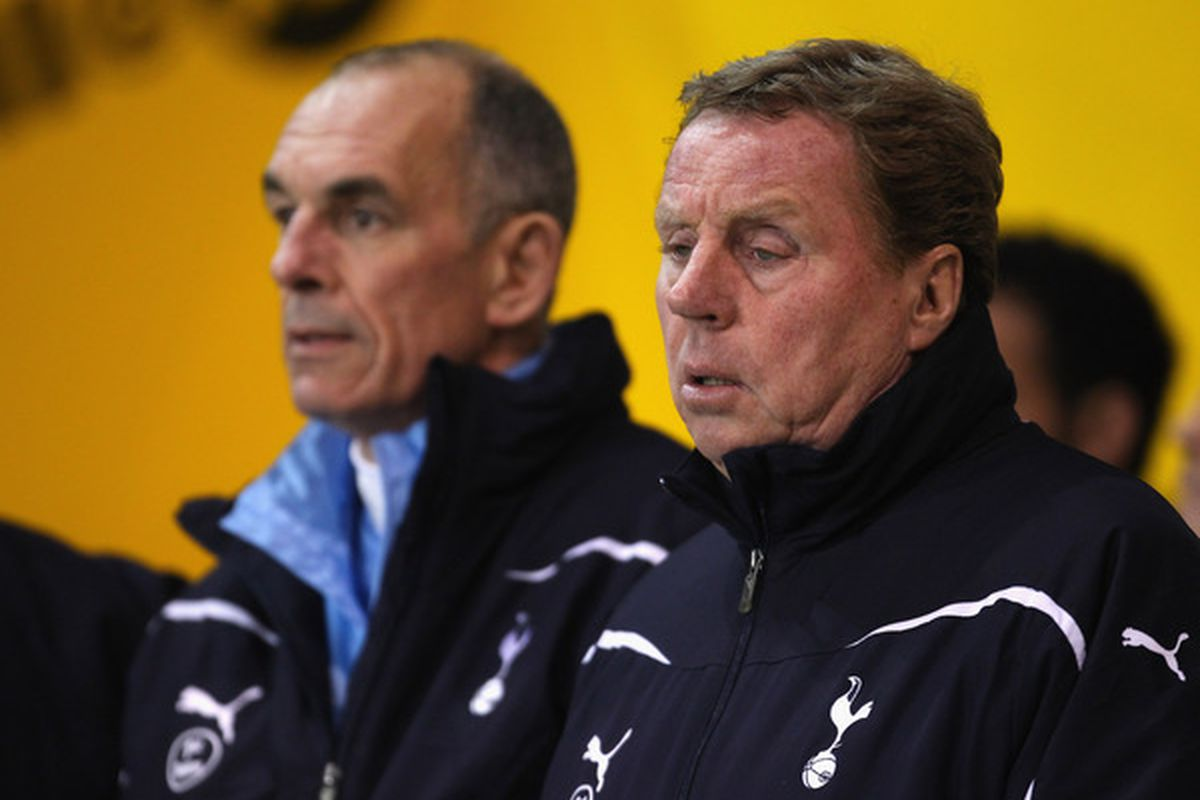 Harry Redknapp the manager of Tottenham Hotspur looks on during the Barclays Premier League match between Blackpool and Tottenham Hotspur at Bloomfield Road in Blackpool England.  (Photo by Alex Livesey/Getty Images)
