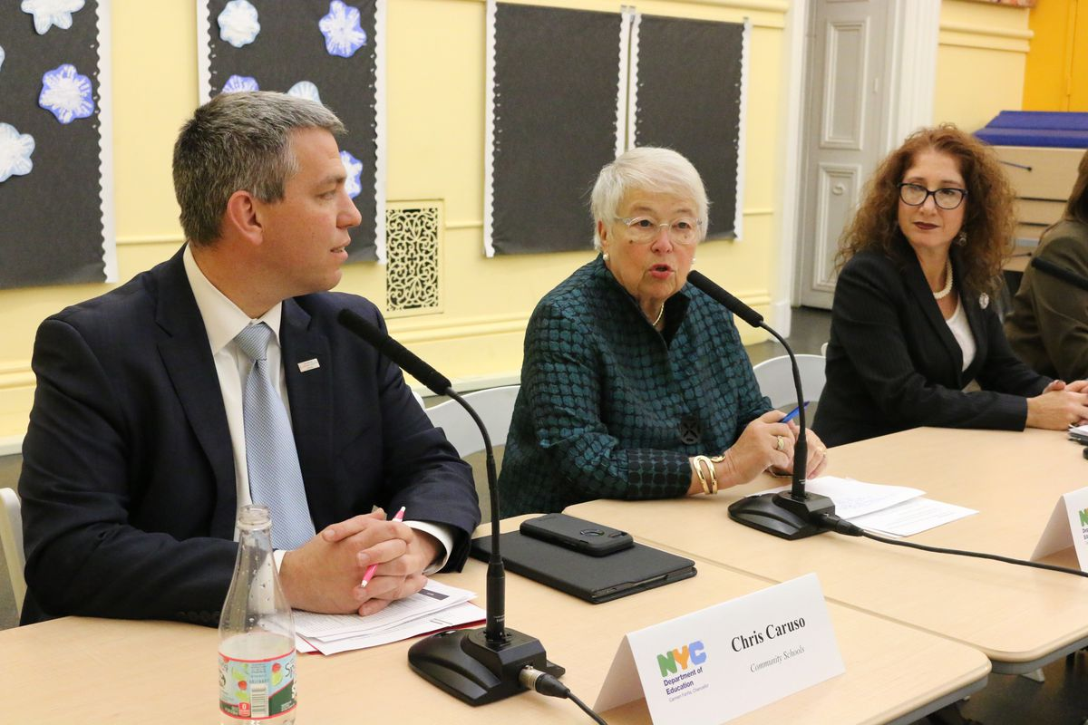 Schools Chancellor Carmen Fariña, center, announced which schools would join the Rise program at a press conference on Monday.
