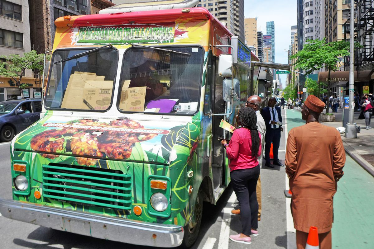 Find DF Nigerian Gourmet parked most days in front of the Nigerian Consulate.