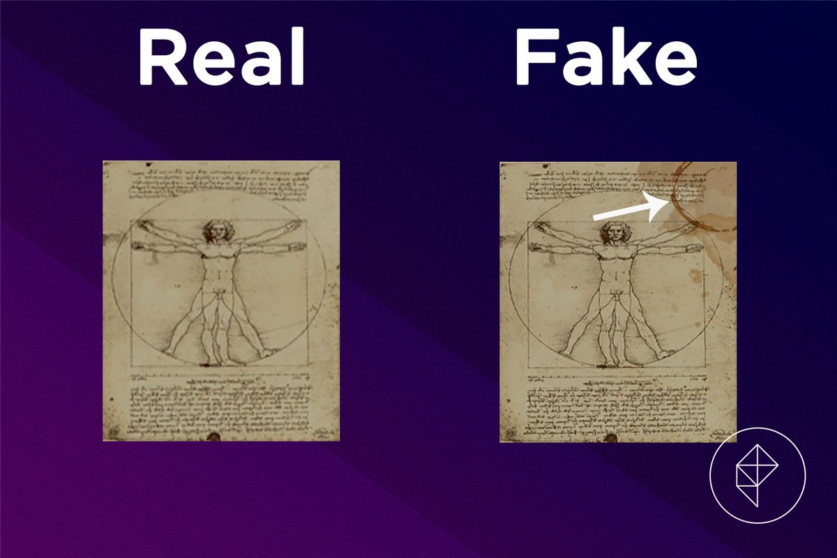 A comparison between the real and fake Academic Painting. The fake version has a coffee stain.