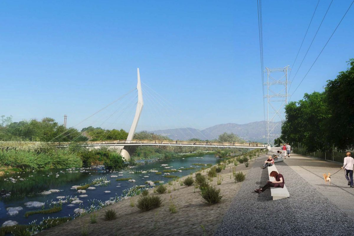 A rendering of the bridge, which features cables running from a central, boomerang-like pillar down to the floor of the bridge.