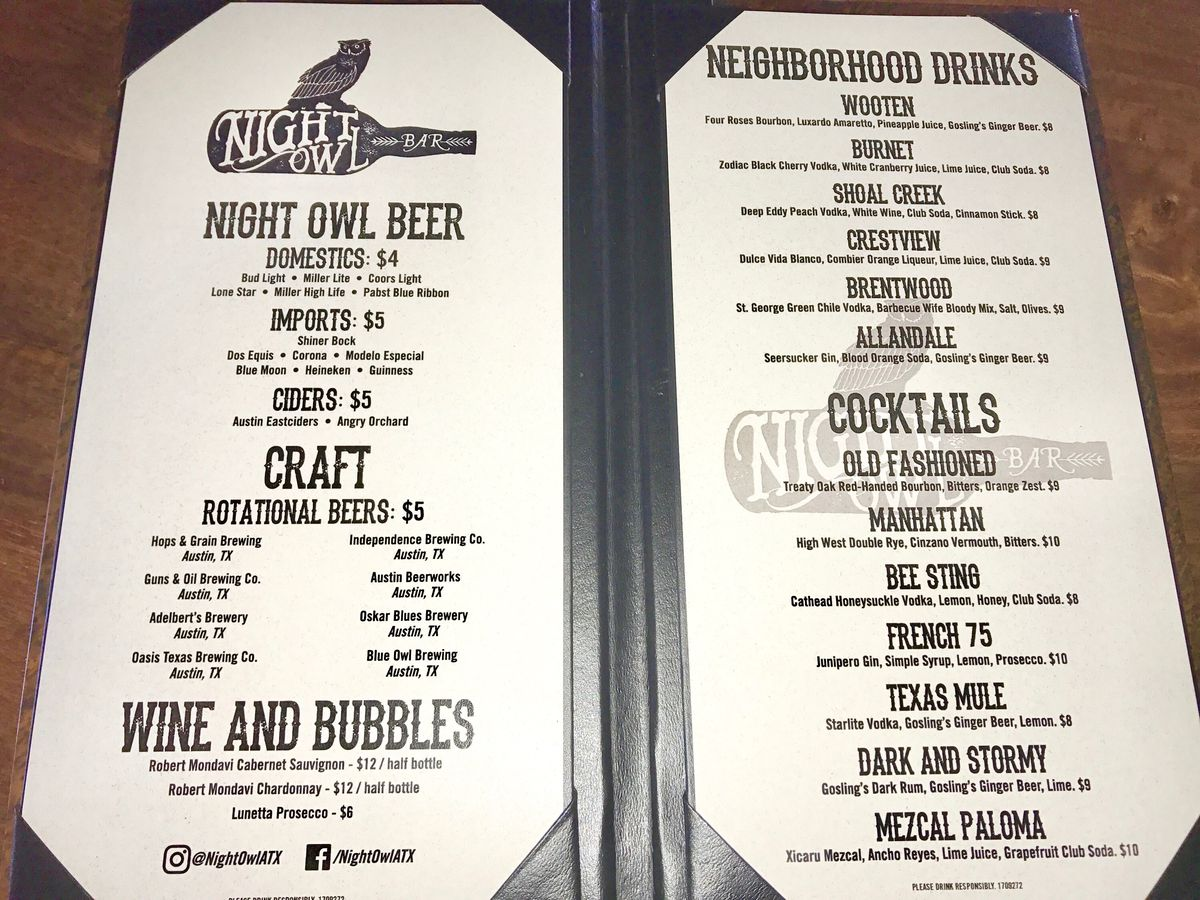 Night Owl's drink menu