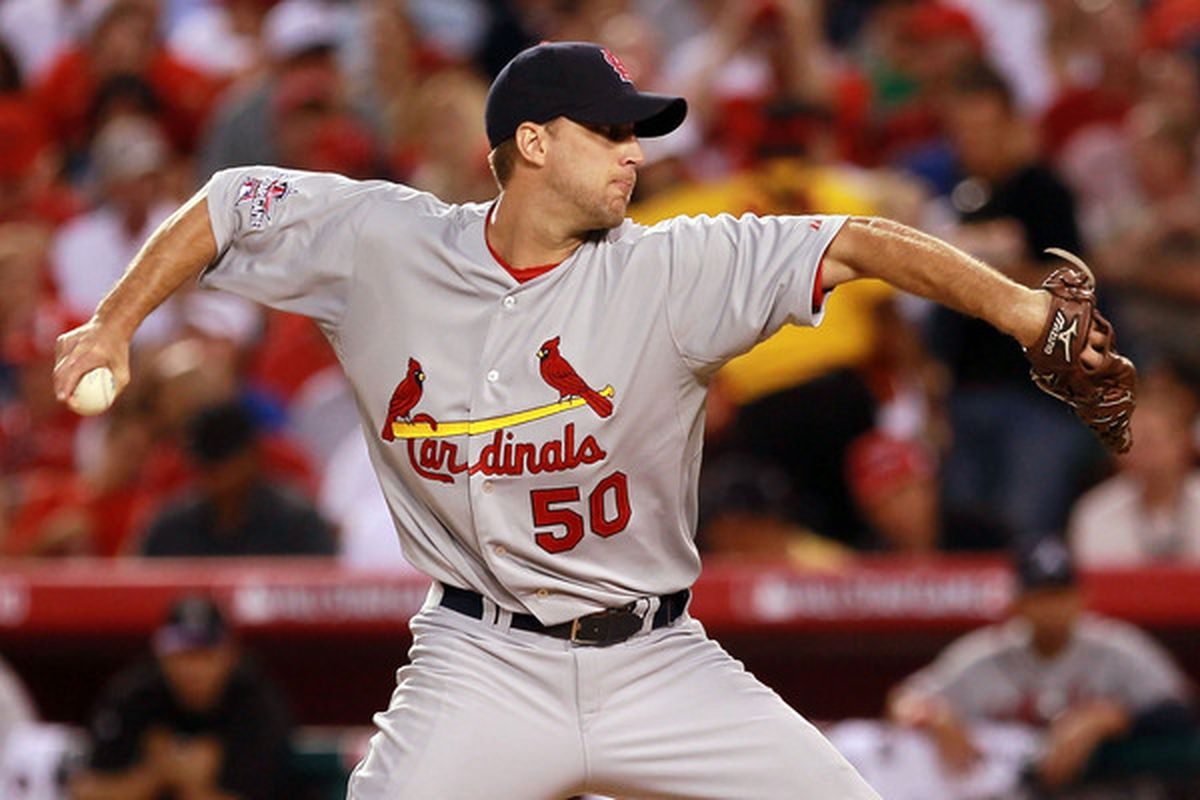 ANAHEIM CA - JULY 13:  National League All-Star Adam Wainwright #50 of the St. Louis Cardinals throws a pitch during the 81st MLB All-Star Game at Angel Stadium of Anaheim on July 13 2010 in Anaheim California.  (Photo by Jeff Gross/Getty Images)