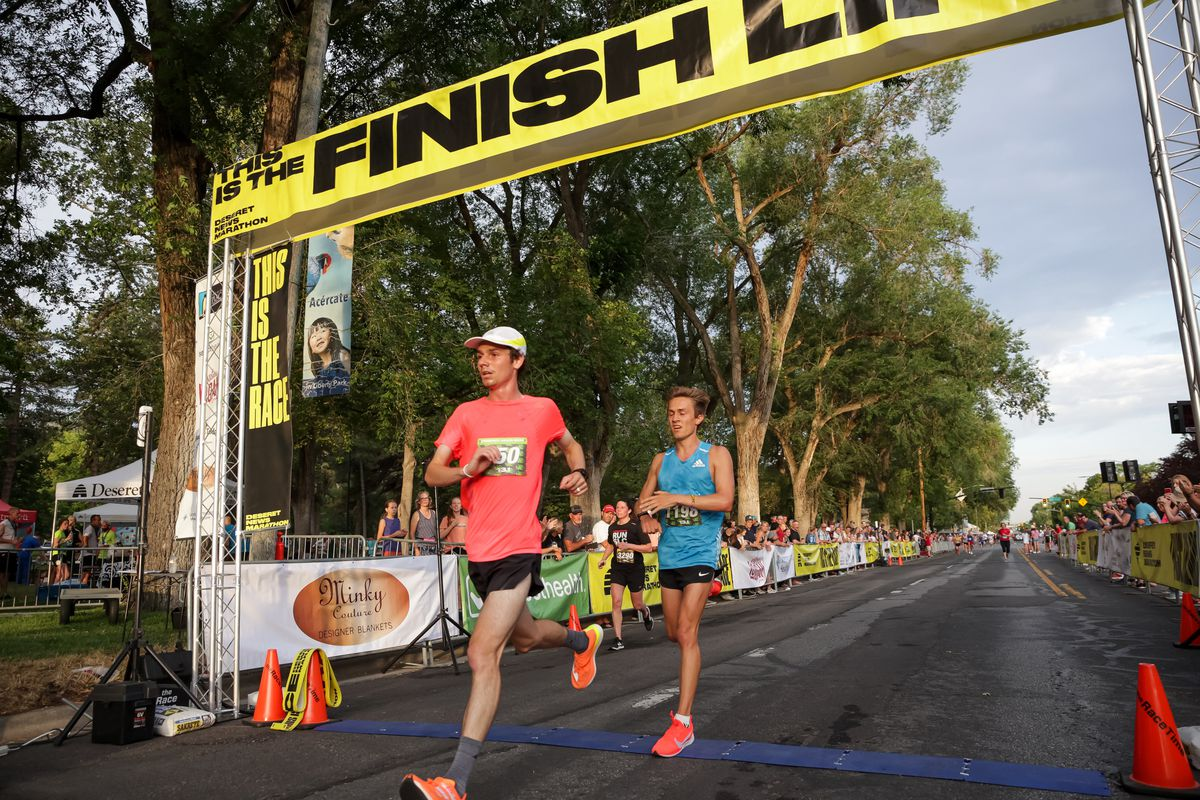Ryan Raff, left, and Conner Mantz place second and third in the men's division of the Deseret News Half Marathon.