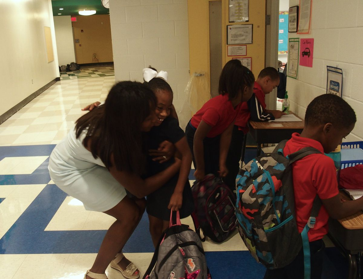 McKissack drops off her daughter, Bliss, every morning at Downtown Elementary School.
