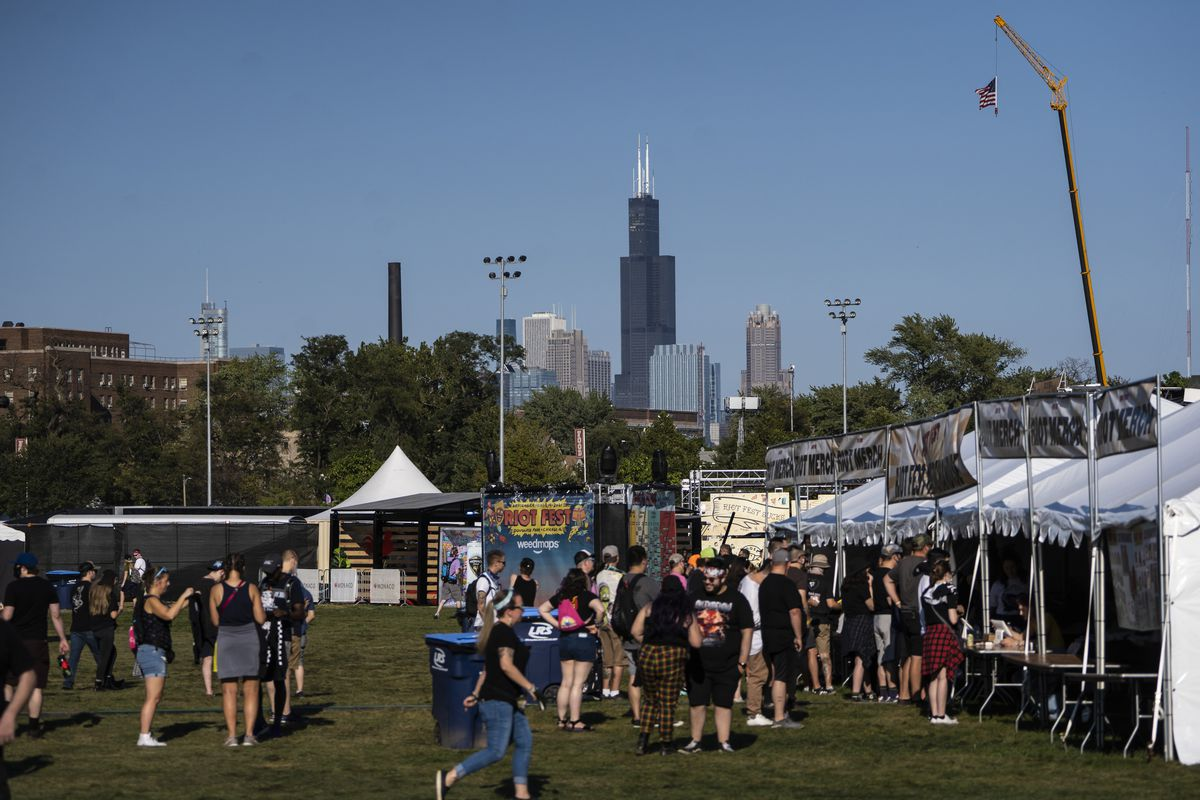 Music fans arrive at Douglass Park for Day 1 of Riot Fest, Thursday afternoon, Sept. 16, 2021.
