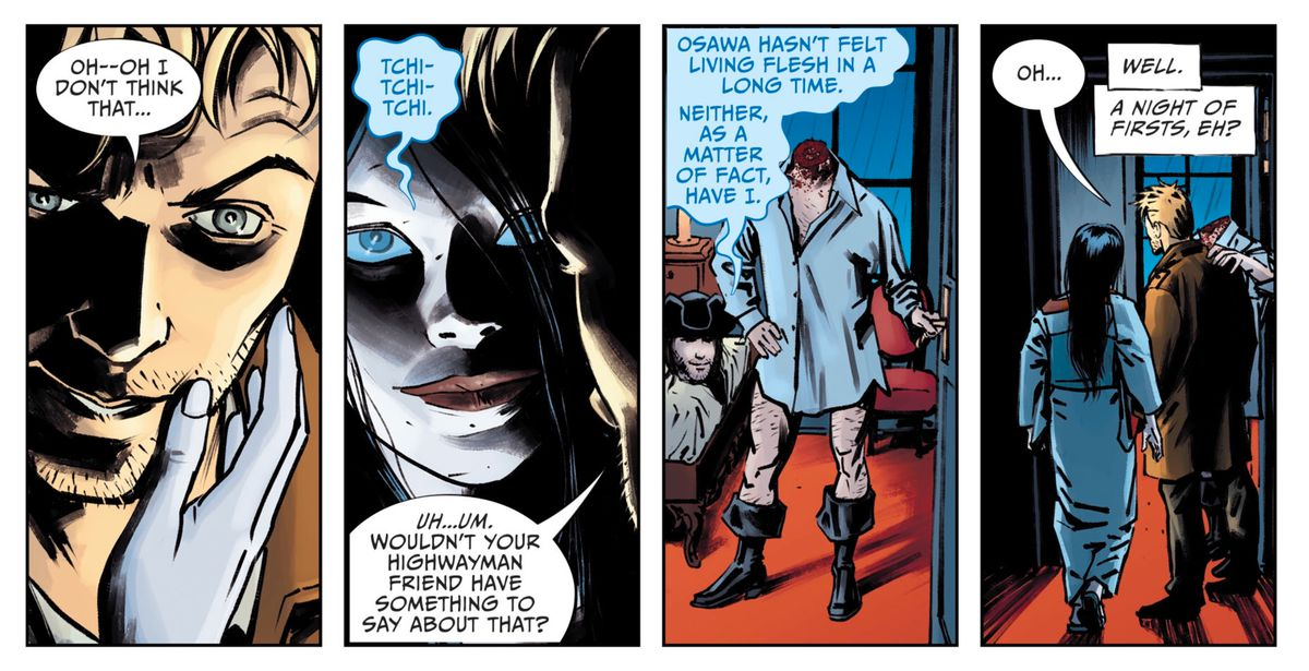 A Japanese spirit and the ghost of highwayman Dick Turpin invite John Constantine to share their bed, in Lucifer #15, DC Comics (2019).