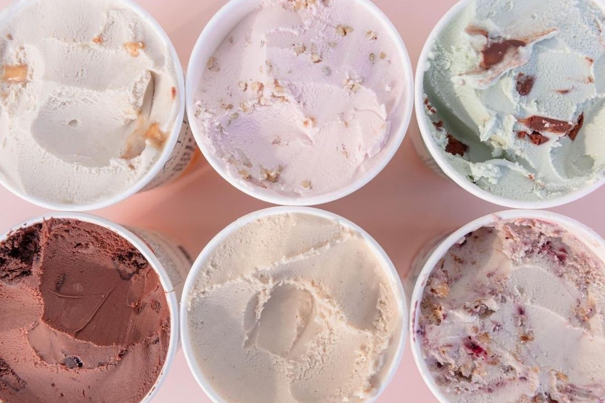 A picture of vegan ice cream pints from Kate's Ice Cream