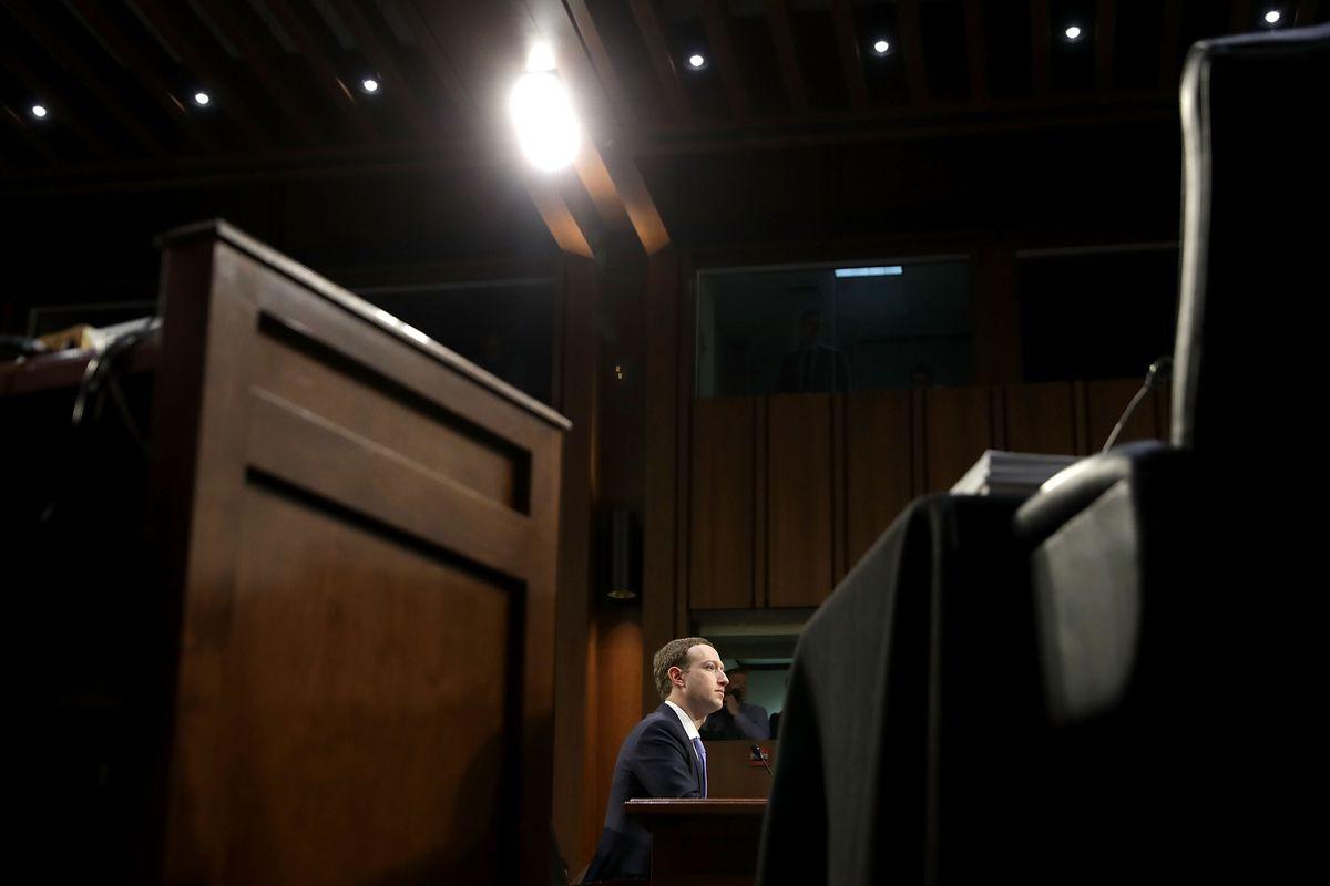 Facebook's Mark Zuckerberg testifies before two Senate committees in April 2018.