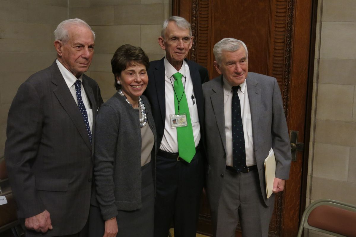 Regents Chancellor Merryl Tisch poses with outgoing Regents members after a contended appointment process ushered in new members critical of Tisch's agenda. Tisch said she plans to step down from the board next year.