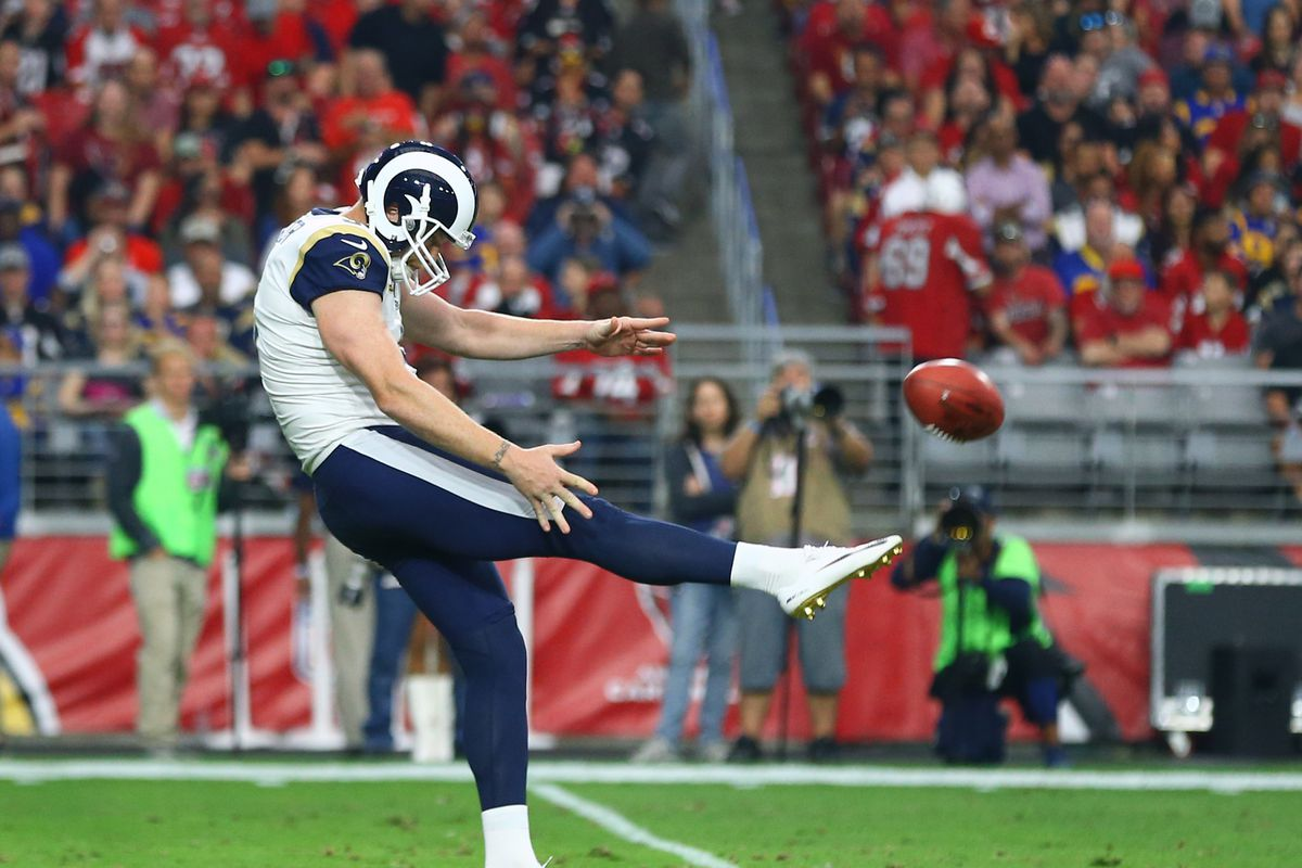 Los Angeles Rams P Johnny Hekker punts a ball to the Arizona Cardinals in Week 13, December 3, 2017.
