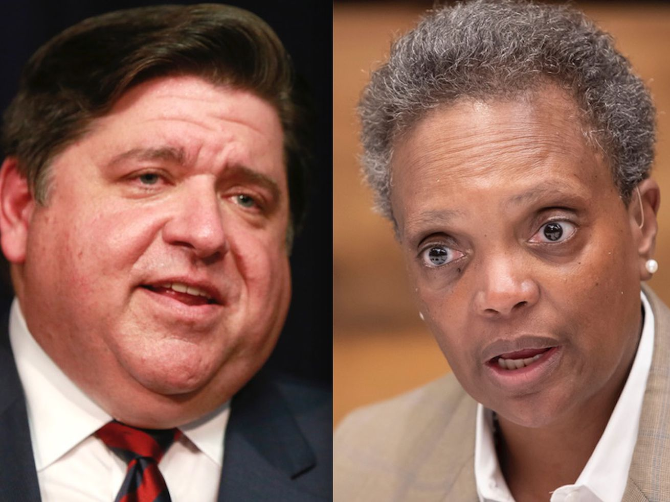 Gov. J.B. Pritzker, left, in 2019; Mayor Lori Lightfoot, right, in 2019.