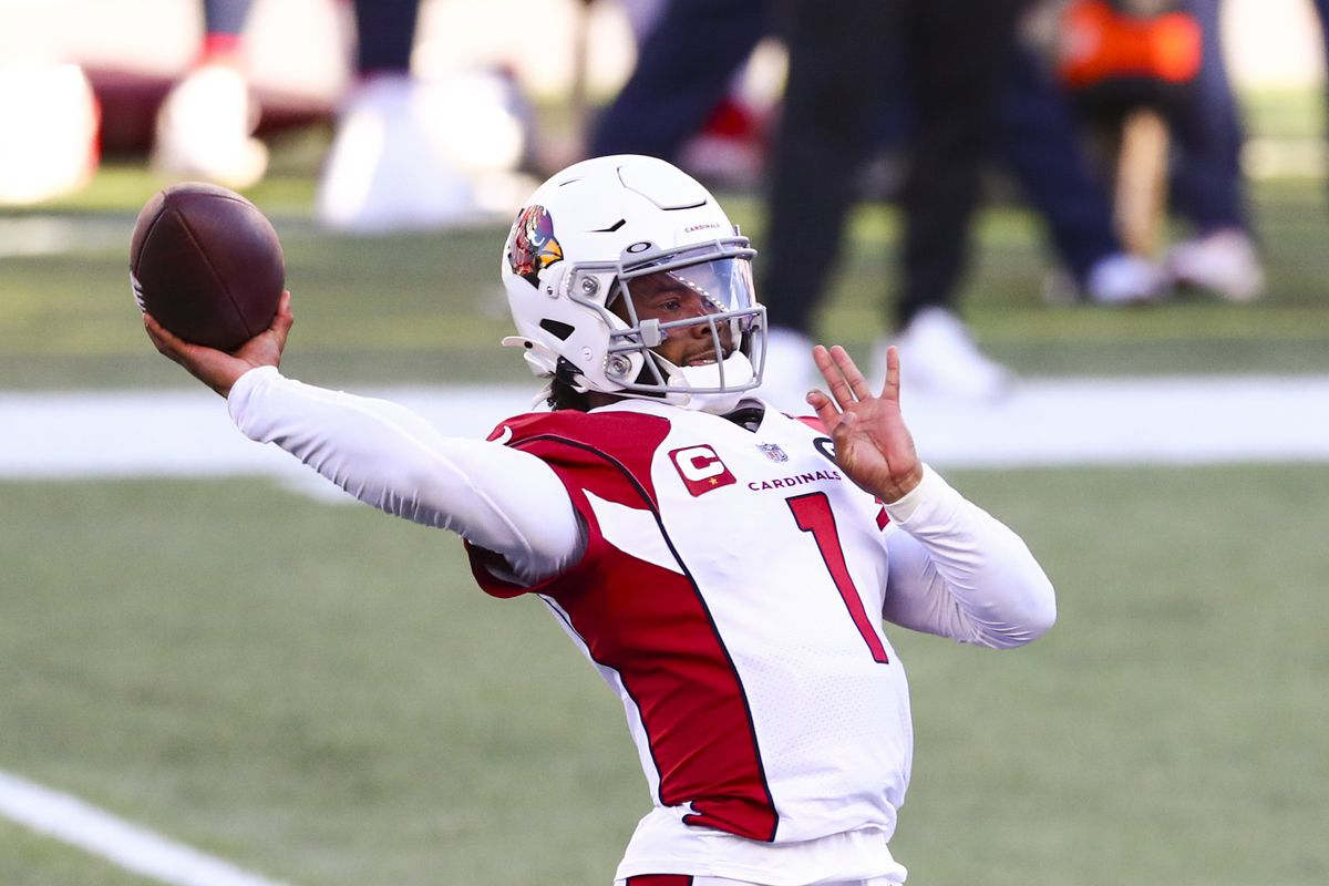 Kyler Murray #1 of the Arizona Cardinals looks to throw the ball during a game against the New England Patriots at Gillette Stadium on November 29, 2020 in Foxborough, Massachusetts.